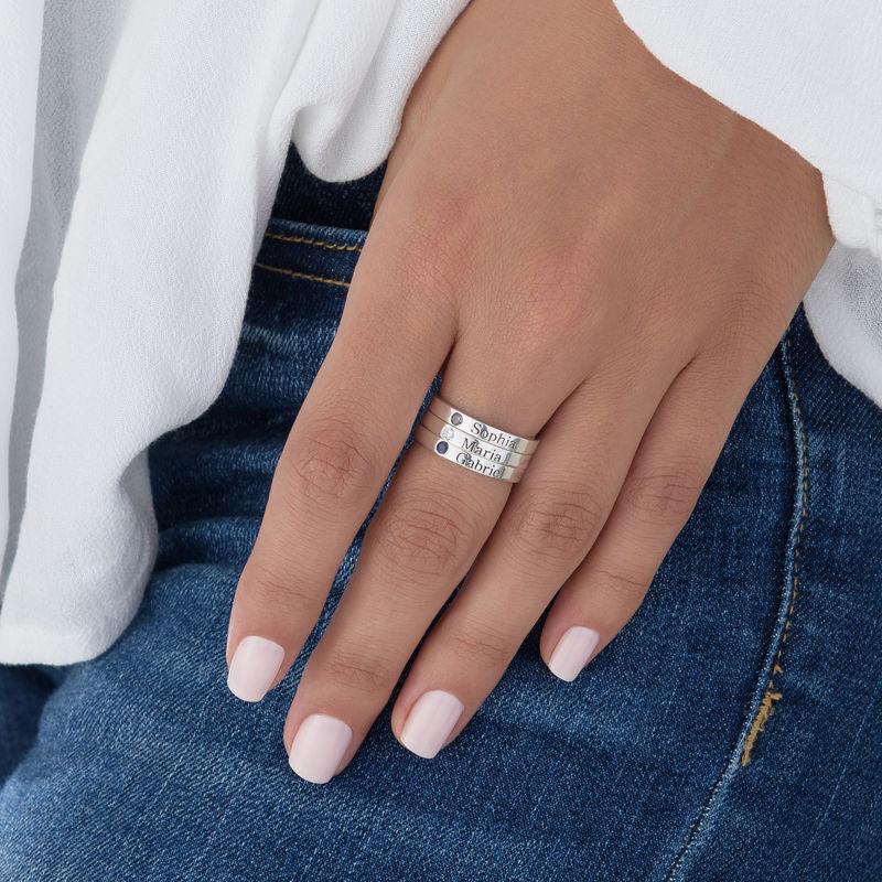 Stabelbar ring med navn og månedssten i sølv - 5