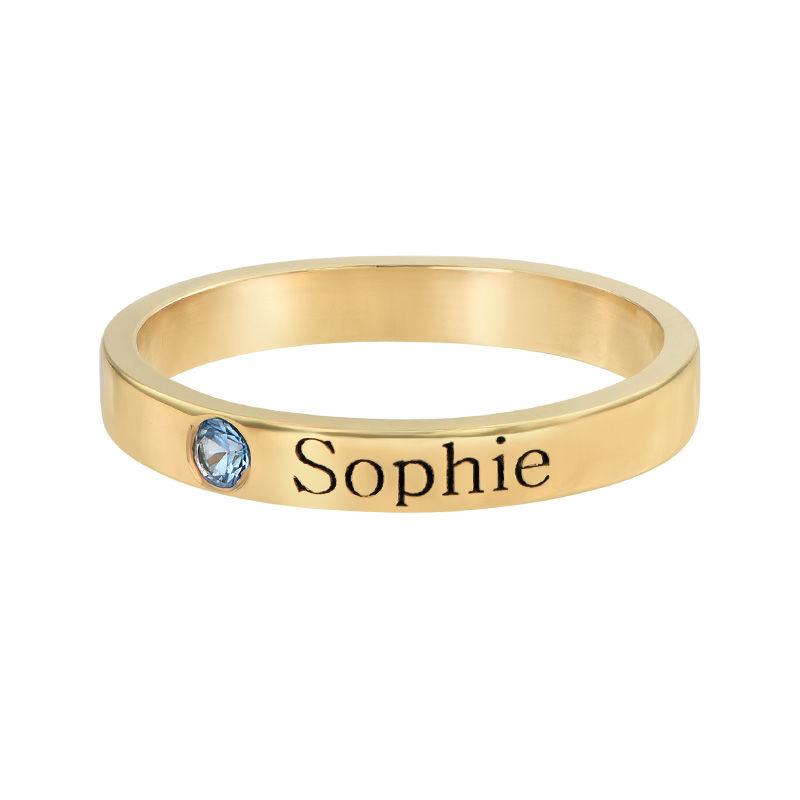 Stabelbar ring med navn og månedssten i 14 karat guld - 1