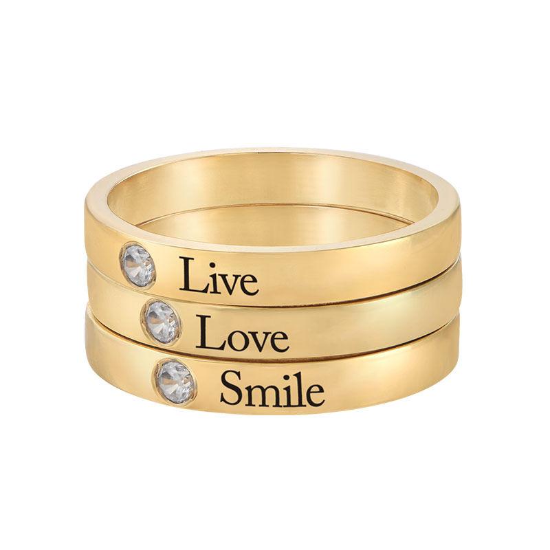 Stabelbar ring med navn og månedssten - 18 karat forgyldt sølv - 3