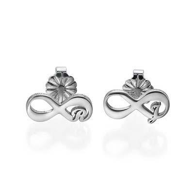 Infinity øreringe med bogstaver i sølv - 1