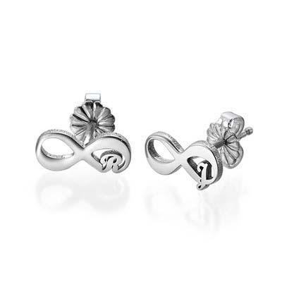 Infinity øreringe med bogstaver i sølv - 2