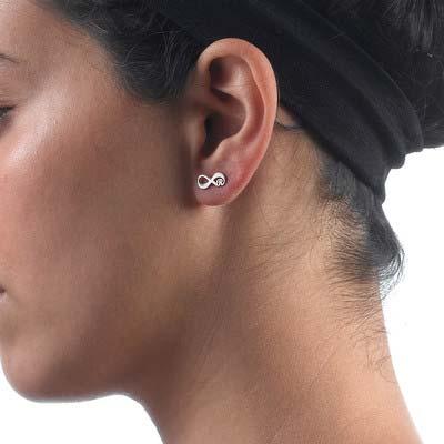 Infinity øreringe med bogstaver i sølv - 3