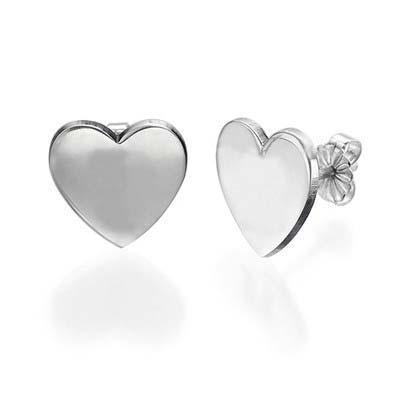 Hjerteøreringe med bogstaver i sølv - 1