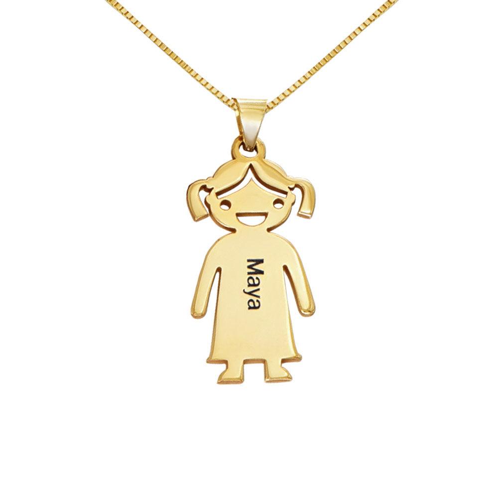 Mors halskæde med graverede børne-charms i 10 karat guld - 1