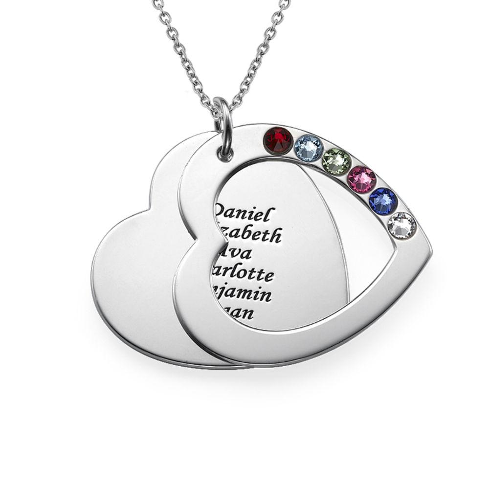 Hjertehalskæde til mor med gravering og fødselssten i sølv - 1