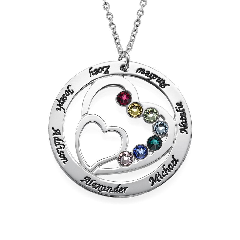 Cirkelformet hjertesmykke med fødselssten i sølv