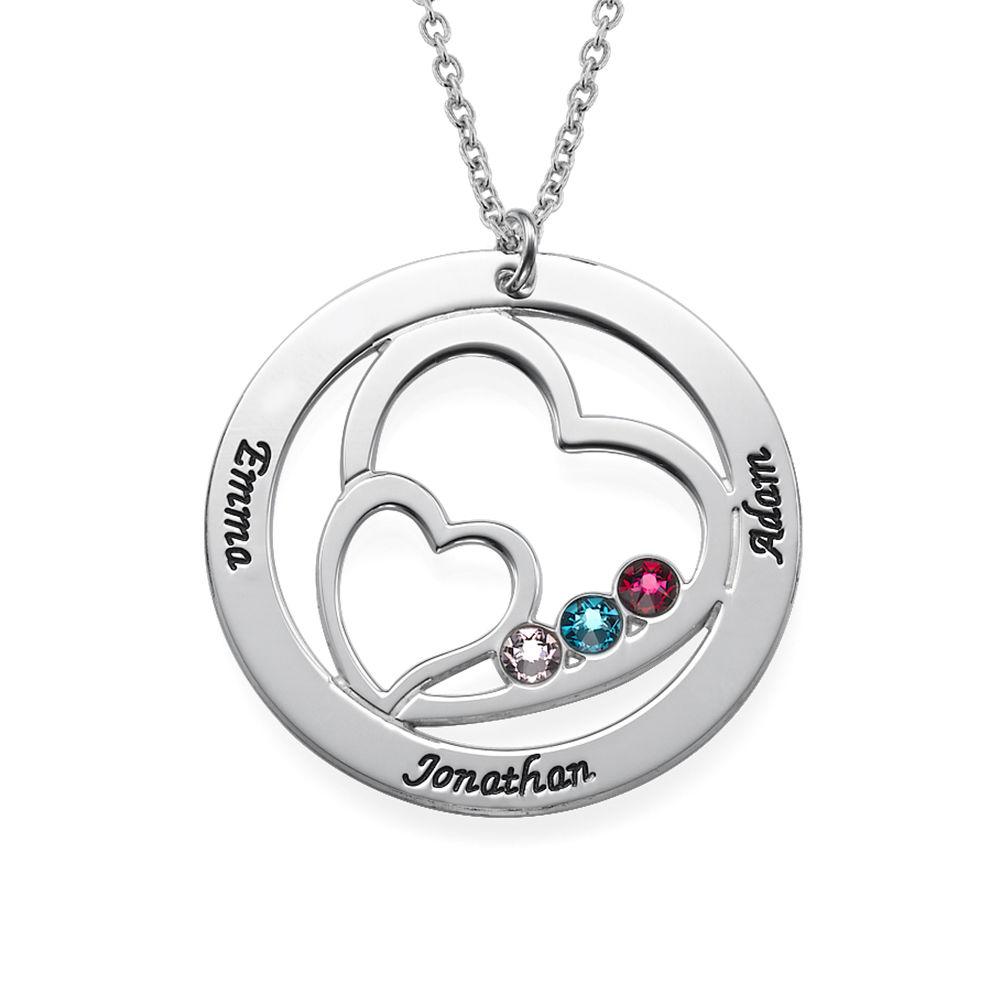 Cirkelformet hjertesmykke med fødselssten i sølv - 1