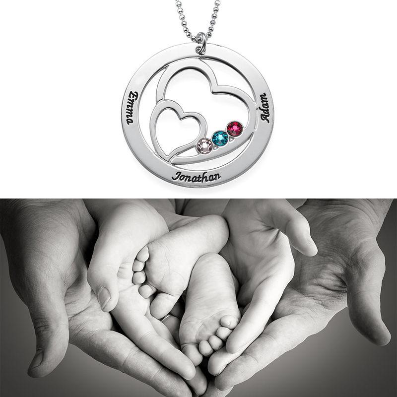Cirkelformet hjertesmykke med fødselssten i sølv - 2