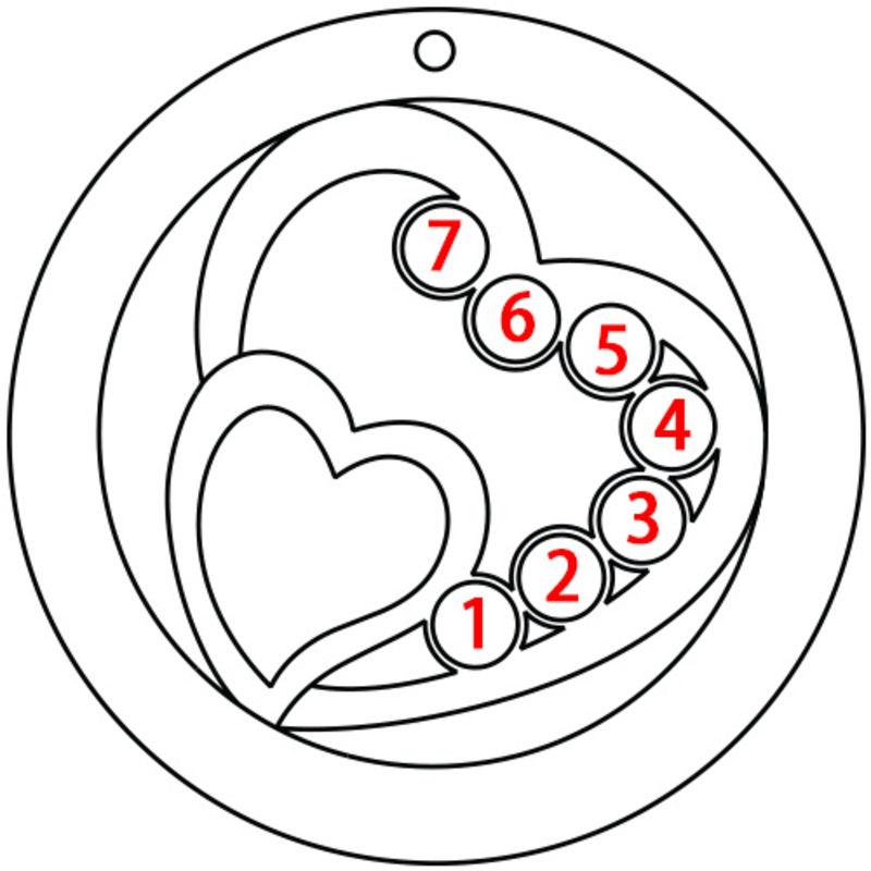 Cirkelformet hjertesmykke med fødselssten i sølv - 5