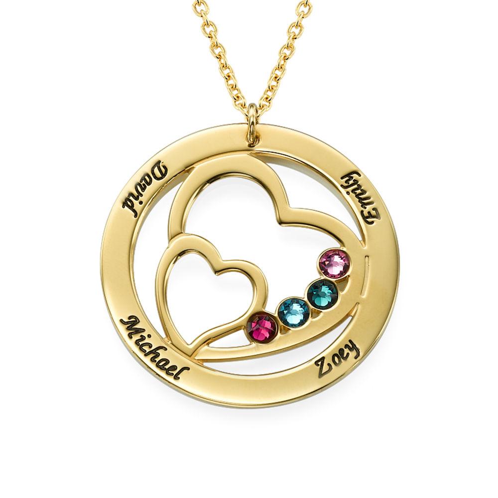 Cirkelformet hjertesmykke med fødselssten i forgyldt sølv