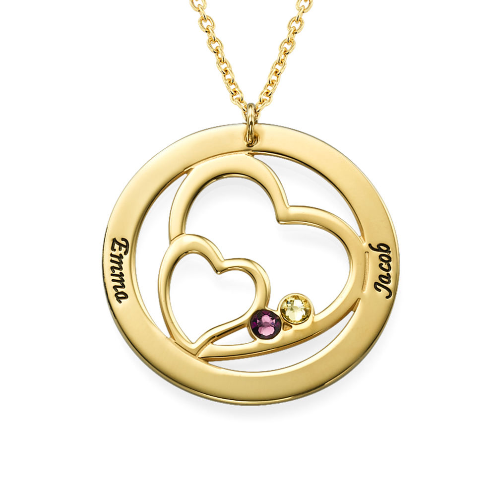 Cirkelformet hjertesmykke med fødselssten i forgyldt sølv - 1