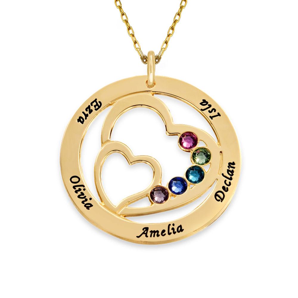 Cirkelformet hjertesmykke med fødselssten i 10 karat guld