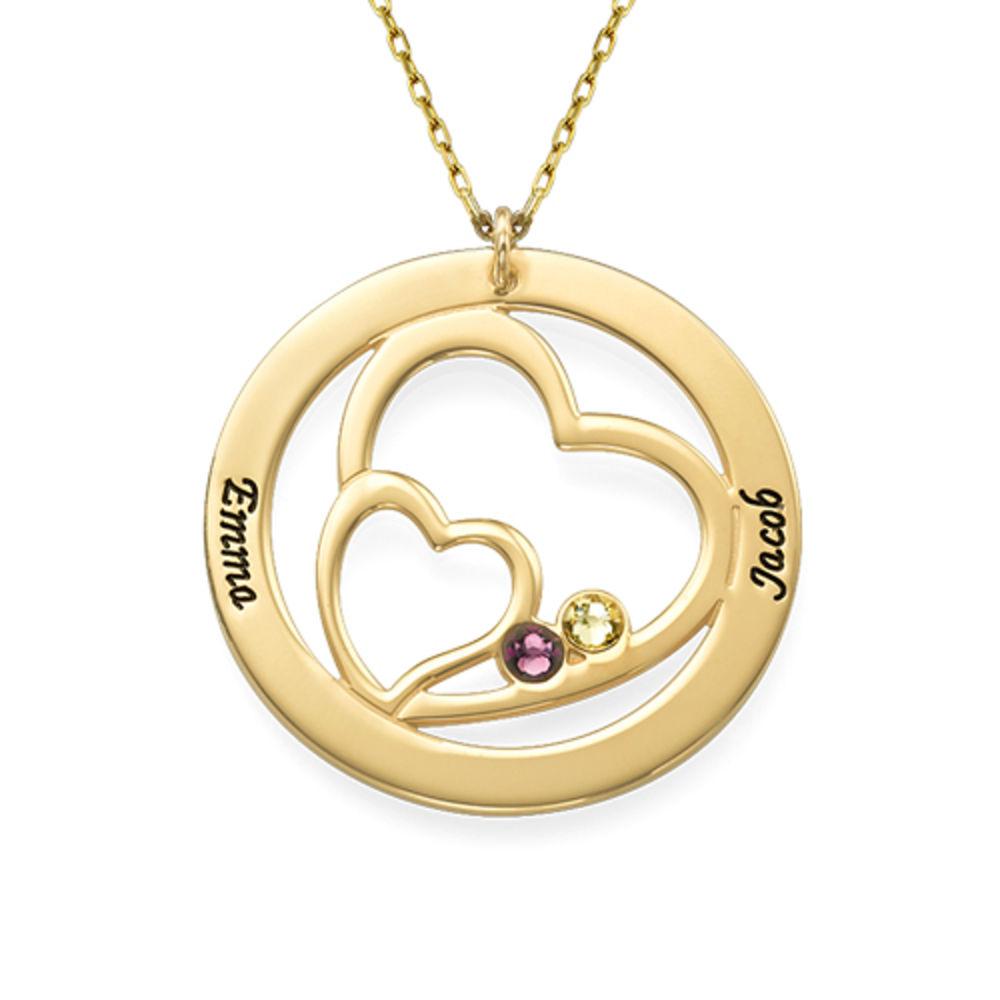 Cirkelformet hjertesmykke med fødselssten i 10 karat guld - 1