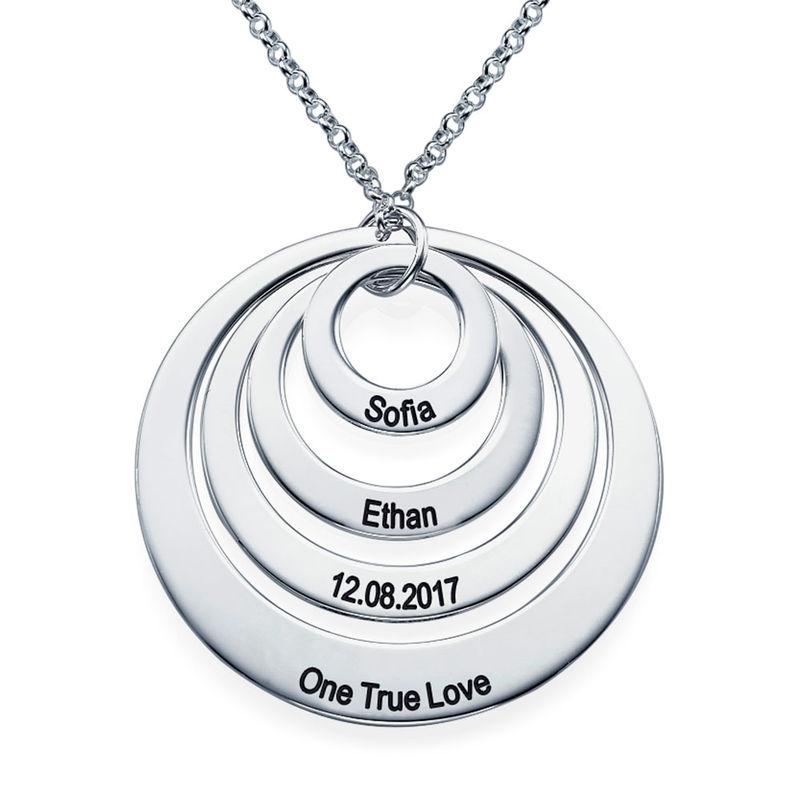 Morsmykke med fire cirkler og indgravering i sølv - 2