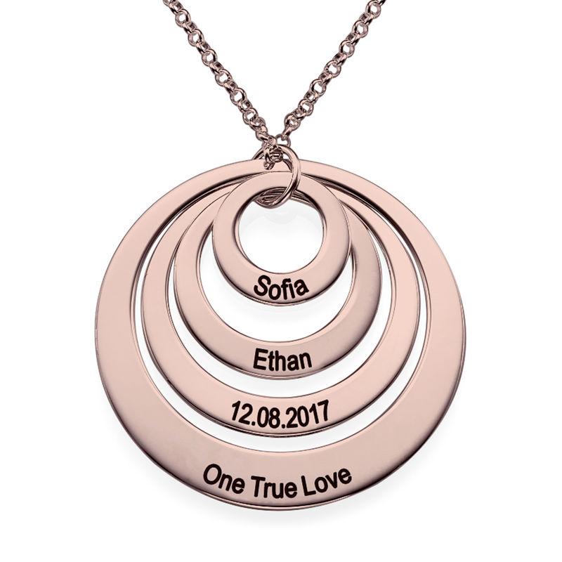 Morsmykke med fire cirkler og indgravering i rosaforgyldt sølv - 1