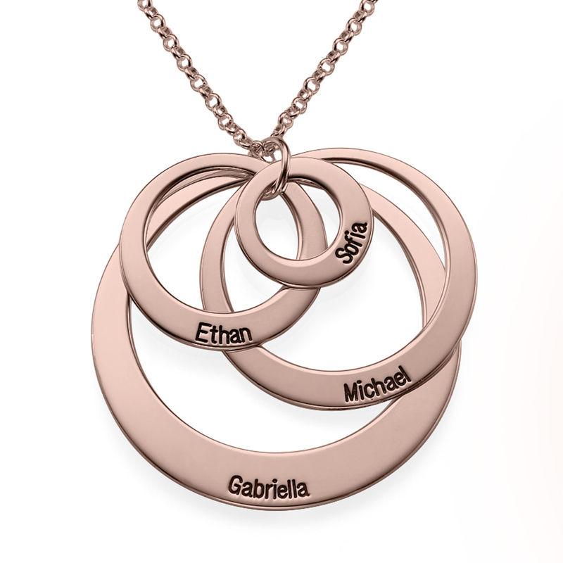 Morsmykke med fire cirkler og indgravering i rosaforgyldt sølv - 2