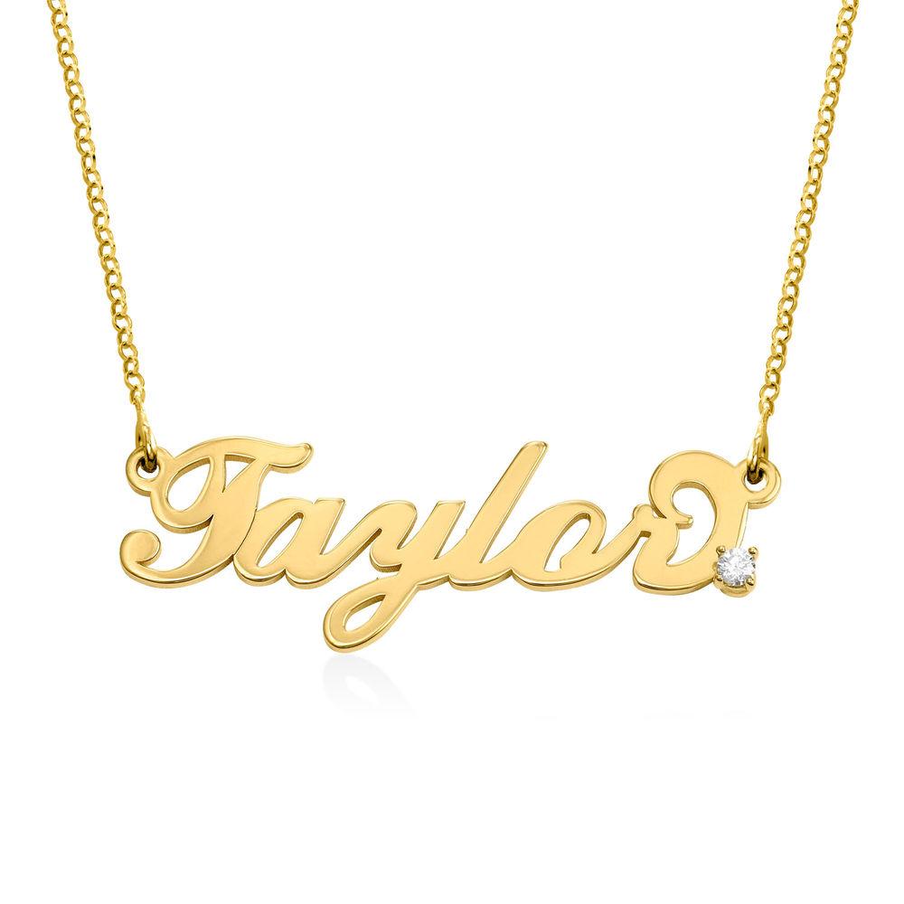 Lille Carrie-navnehalskæde i guld vermeil med diamant