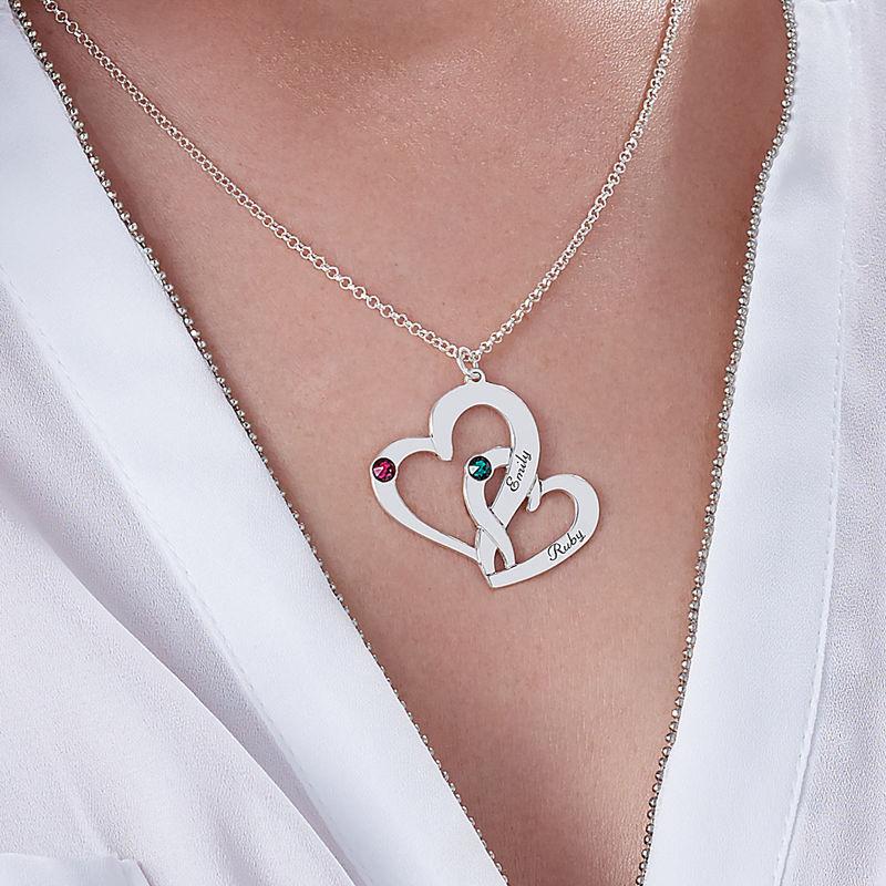 Indgraveret dobbelt-hjertehalskæde med fødselssten i sølv - 3