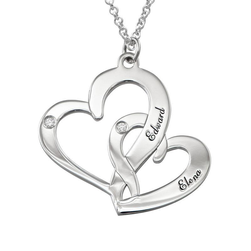 Indgraveret dobbelt-hjertehalskæde med fødselssten i sølv med diamanter