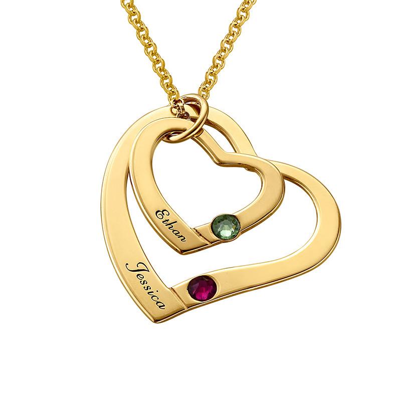 hjerte i hjerte halskæde med månedssten - guldbelagt