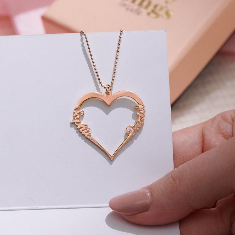 Hjerte halskæde i 18 karat rosaforgyldt sølv - 1