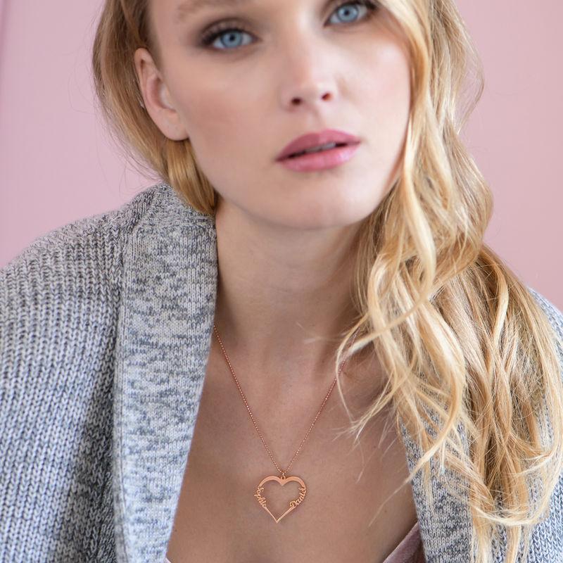 Hjerte halskæde i 18 karat rosaforgyldt sølv - 2
