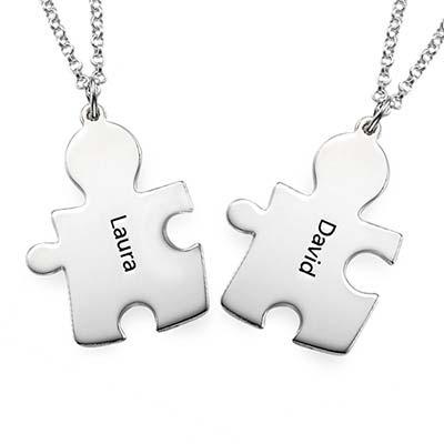 Personlig puzzle-halskæde i sterlingsølv