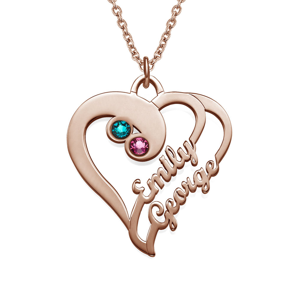 To hjerter for evigt-halskæde i rosaforgyldt sølv