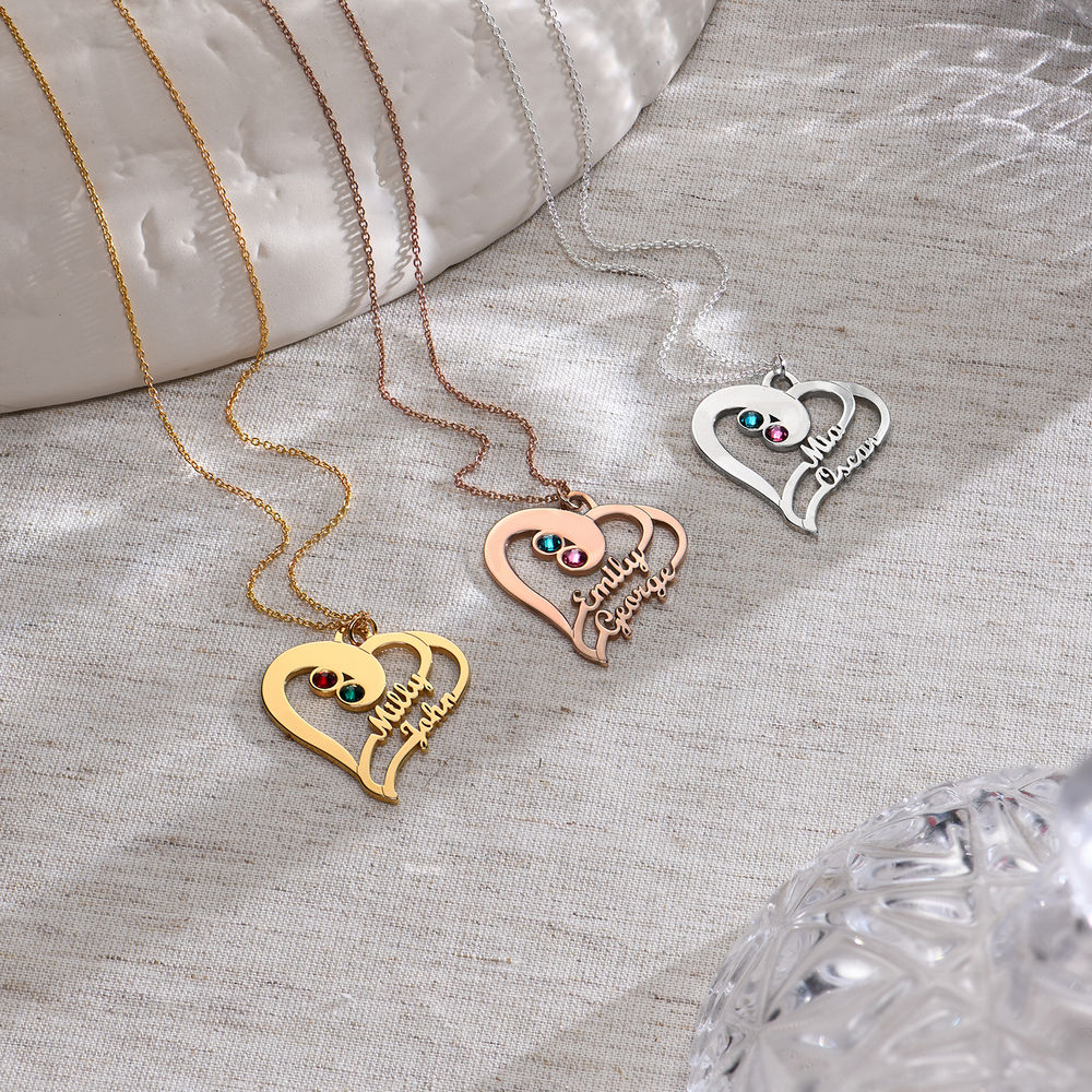 To hjerter for evigt-halskæde i rosaforgyldt sølv - 1