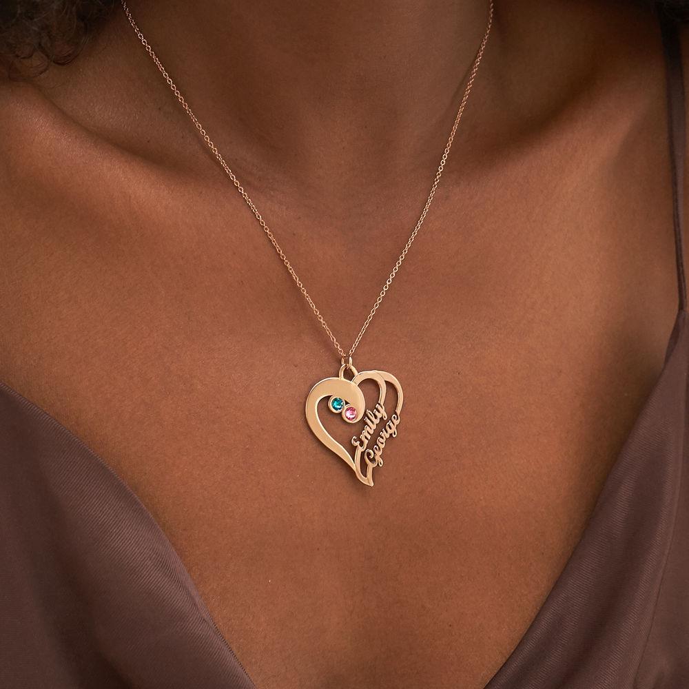 To hjerter for evigt-halskæde i rosaforgyldt sølv - 3