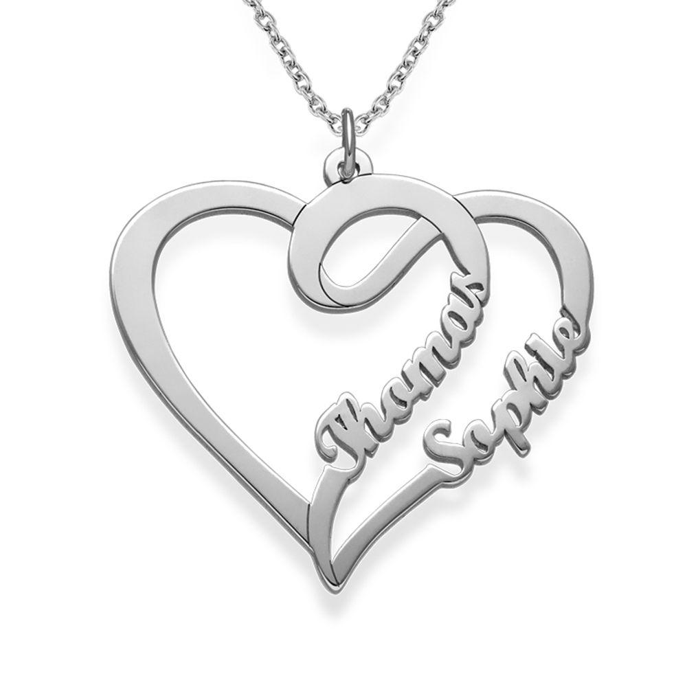 Kæreste halskæde med hjerte og navn i sølv