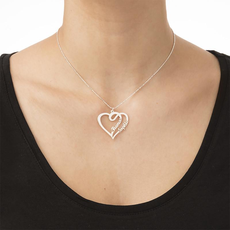 Kæreste halskæde med hjerte og navn i sølv - 1