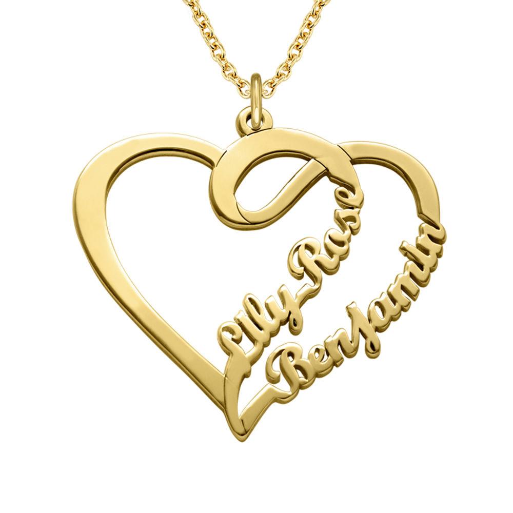 Kæreste halskæde med hjerte og navn i forgyldt sølv