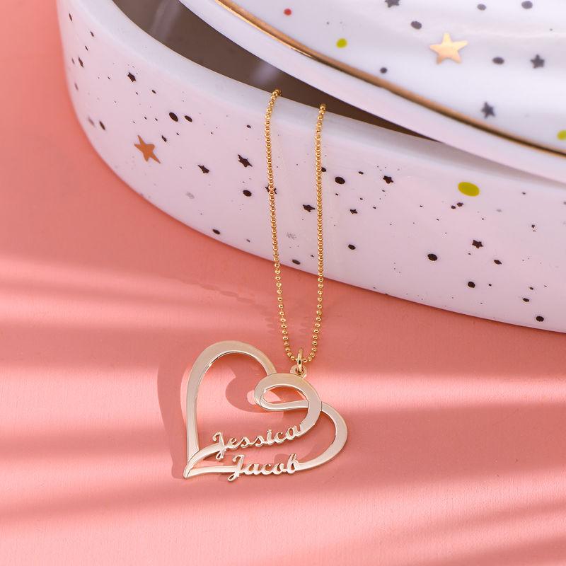 Kæreste halskæde med hjerte og navn i forgyldt sølv - 1