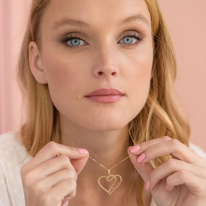 Kæreste halskæde med hjerte og navn i forgyldt sølv - 2