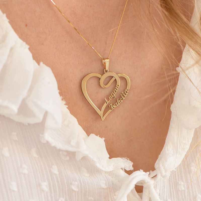 Kæreste halskæde med hjerte og navn i forgyldt sølv - 3