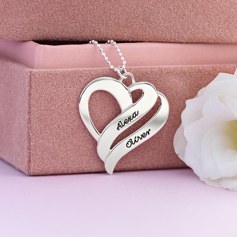 To hjerter banker som èt-halskæde med gravering i sølv - 3