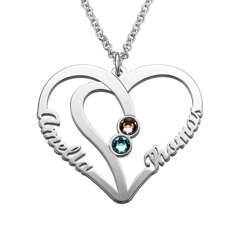Hjerteformet kæreste halskæde med navne og fødselssten i sølv
