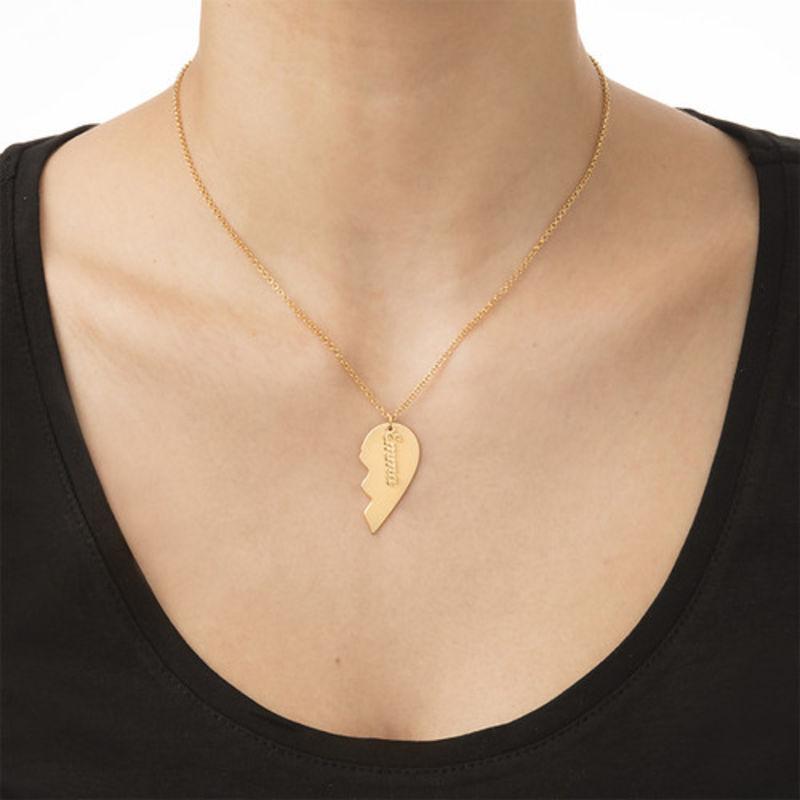 Personlig hjertehalskæde til par mat guldbelægning - 3