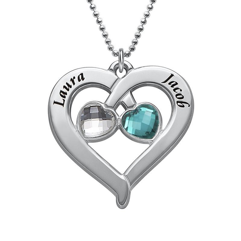 Hjerte halskæde med personligt præg og månedssten