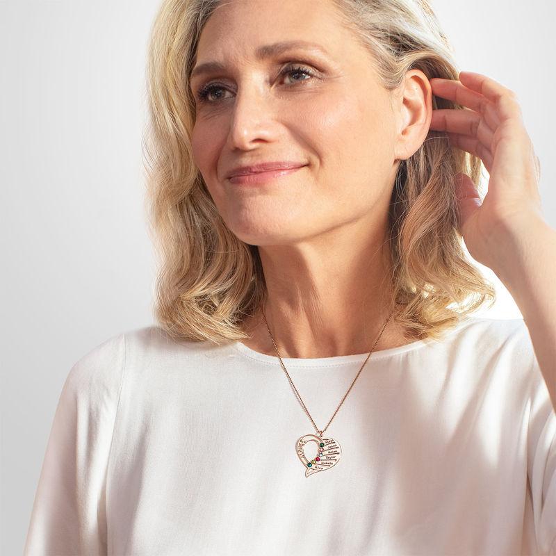 Indgraveret mor halskæde med månedssten - Rosaforgyldt - 4