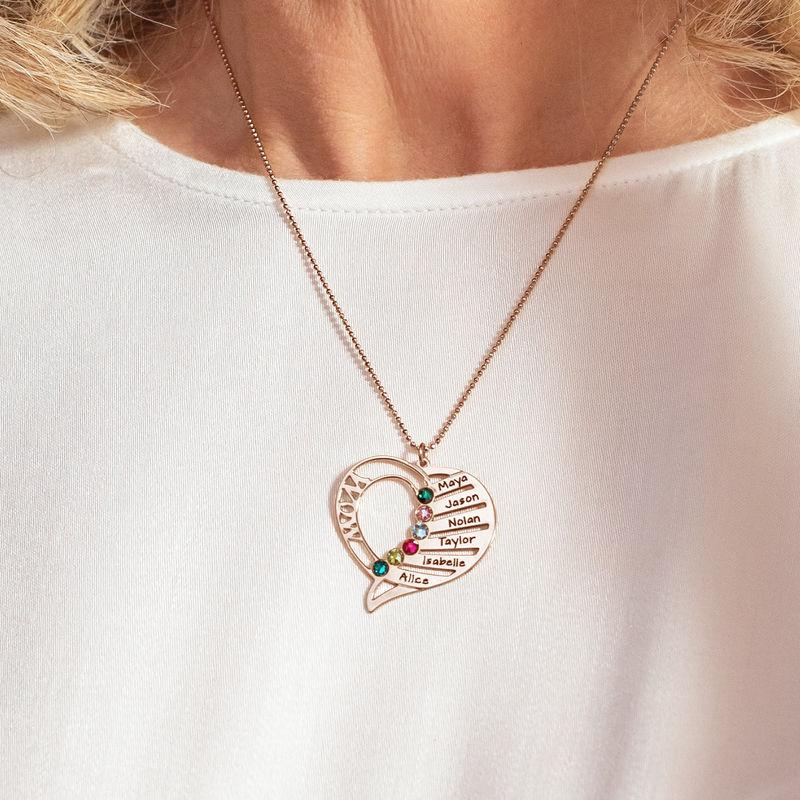 Indgraveret mor halskæde med månedssten - Rosaforgyldt - 5