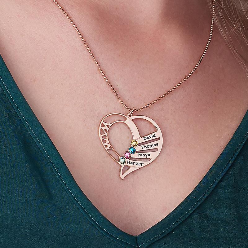 Indgraveret mor halskæde med månedssten - Rosaforgyldt - 6