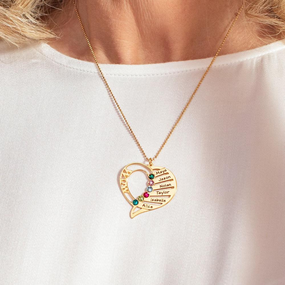 Indgraveret mor halskæde med månedssten i 10 karat guld - 3