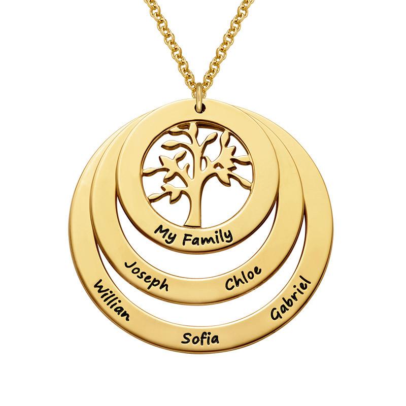 Rundt familie smykke med livets træ - forgyldt