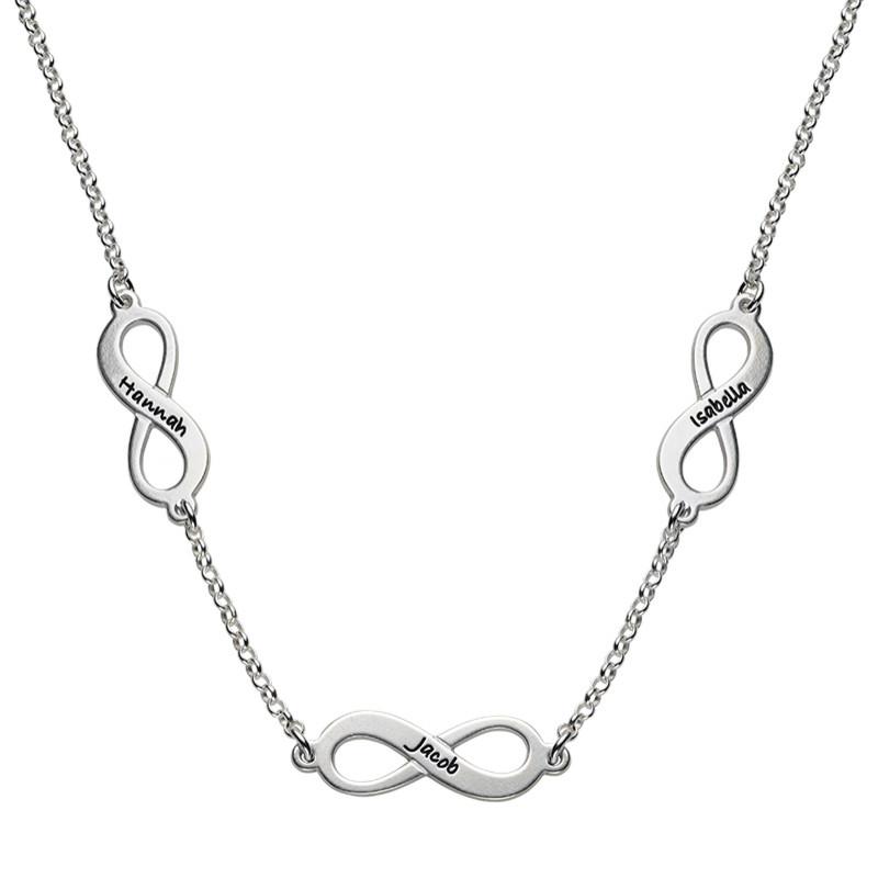 Infinity halskæde med flere vedhæng i sterlingsølv