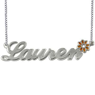Navnekæde i sølv med farvecharm - 3