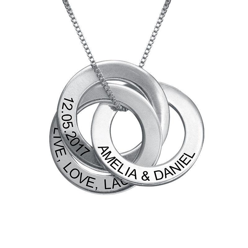 Russisk ring-halskæde med indgravering i sølv - 1