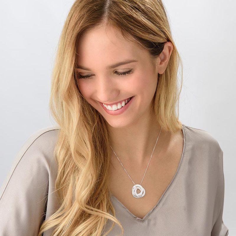 Russisk ring-halskæde med indgravering i sølv - 3