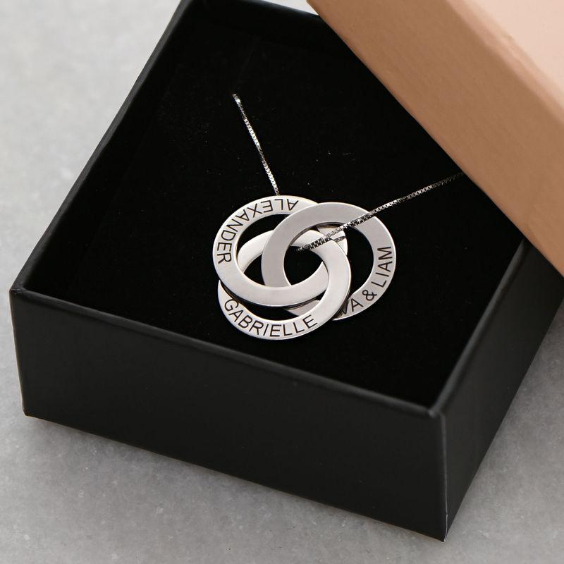 Russisk ring-halskæde med indgravering i sølv - 5